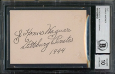 "Honus Wagner Superb Signed 2.5"" x 3.5"" Vintage Sheet :: Beckett/BAS Graded GEM MINT 10 Autograph!"