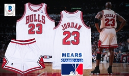 1997-98 Michael Jordan Game Used & Signed Chicago Bulls Home Uniform (Jersey and Shorts) with Extensive Authentication! (Bulls LOA, MEARS A10 & Sports Investors & Beckett/BAS)
