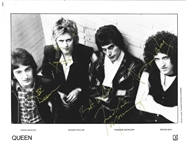 "Queen ULTRA RARE Group Signed Elektra Records 8"" x 10"" B&W Publicity Photograph (Beckett/BAS LOA with MINT 9 Autos!)"
