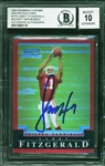 Larry Fitzgerald Signed 2004 Bowman Chrome Red Refractors #118 Rookie Card with Beckett/BGS GEM MINT 10 Autograph!