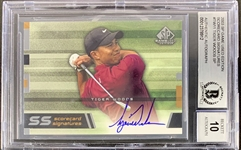 2003 UD SP Tiger Woods Game Used Edition Scorecard Signatures with On-Card Signature :: BAS Graded GEM MINT 10 Autograph!